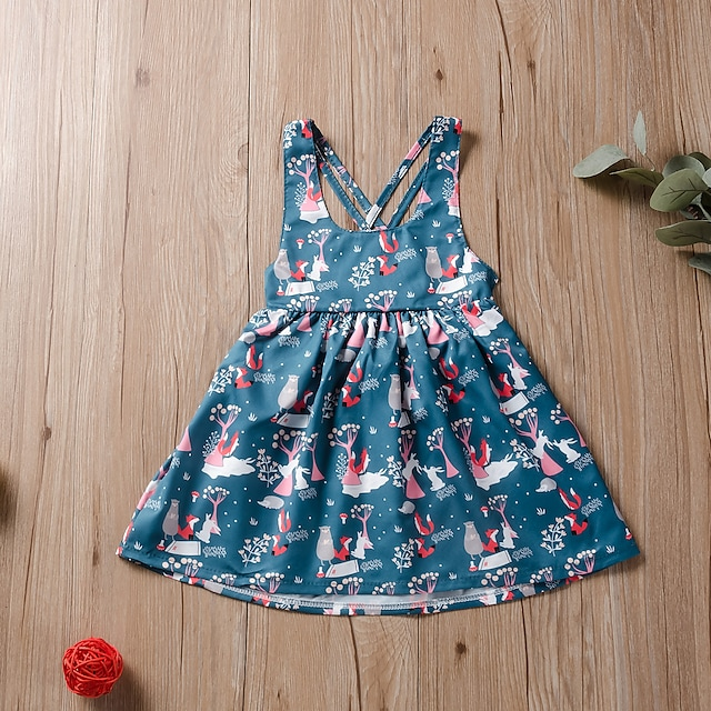 Dzieci Mało Dla dziewczynek Sukienka Kwiaty Nadruk Niebieski Do kolan Długi rękaw Aktywny Sukienki Lato Regularny 2-6 lata