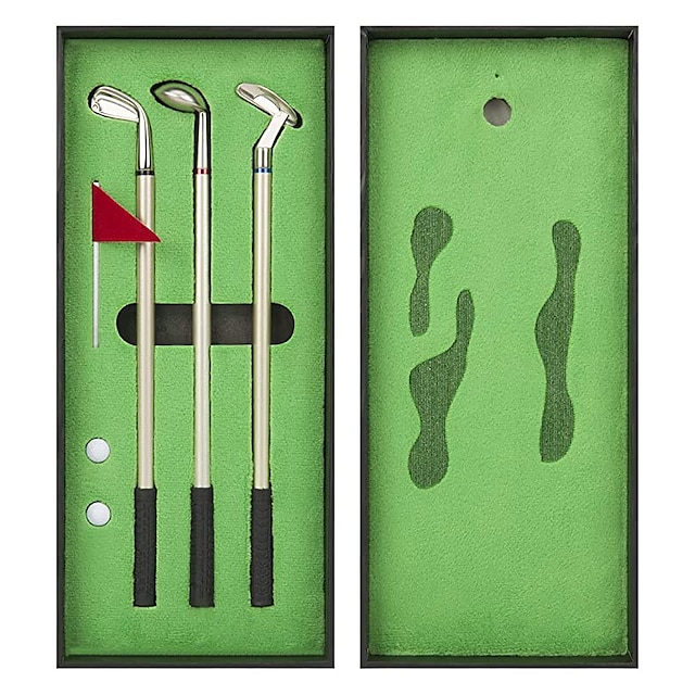 golfpennesett, mini desktop golfballpenn, toppgolfgave med putting green, 3 golfkøllerpenner med baller og flagg