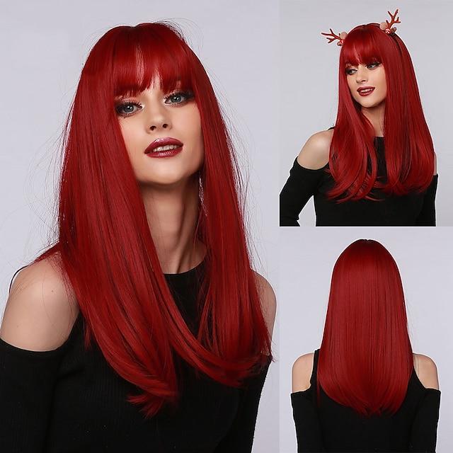 Halloween cosplay perruque longue droite perruques de cheveux synthétiques rouge foncé avec frange pour perruque résistante à la chaleur femme noire blanche