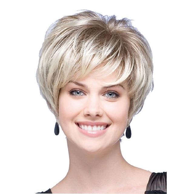 Synthetische Perücken Natürlich gerade Stufenhaarschnitt Kurzer Bob Perücke Kurz Hellblond Synthetische Haare Damen Party Modisch Bequem Blond