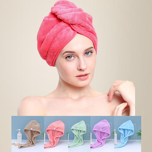 litb basic baie moale din coral fleece parul învelește prosop cu uscare rapidă de culoare solidă, confortabil, zilnic, acasă, prosoape de baie 1 buc