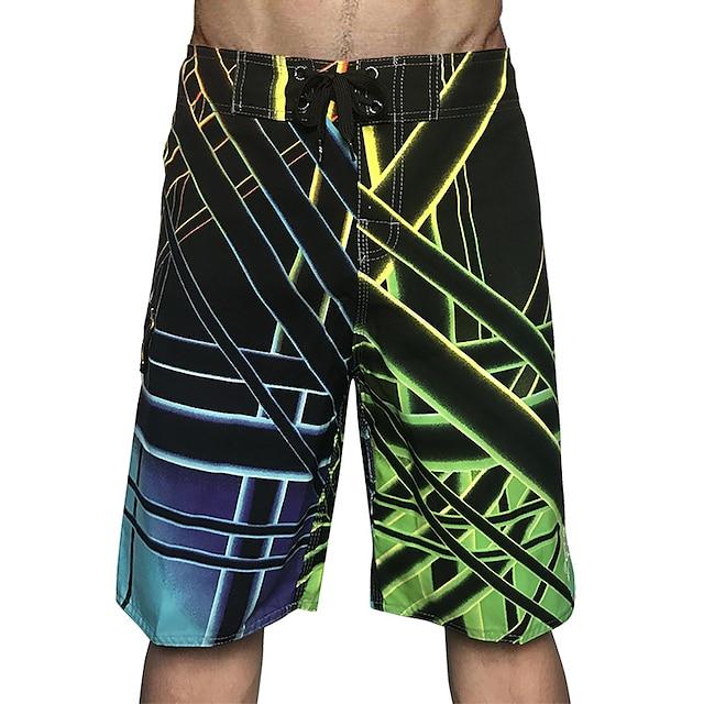 Men's Swim Shorts Swim Trunks Board Shorts Quick Dry Drawstring - Swimming Surfing Water Sports Grid Pattern Summer