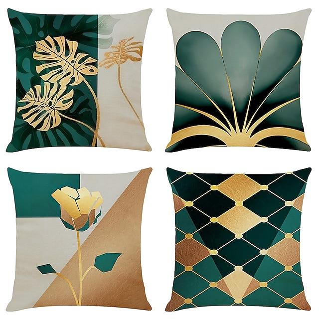 pudebetræk 4stk faux linned blød geometrisk enkel klassisk kaste pudebetræk pudebetræk pudebetræk til sofa soveværelse overlegen kvalitet maskinvaskbart faux linned til sofa sofa seng stol gylden