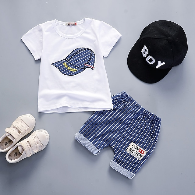 Toddler Boys' T-shirt & Shorts Clothing Set 2 Pieces Short Sleeve Gray Green Navy Blue White Plaid Geometric Patchwork Cotton Sport Casual Basic Regular Above Knee 1-4 Years / Summer