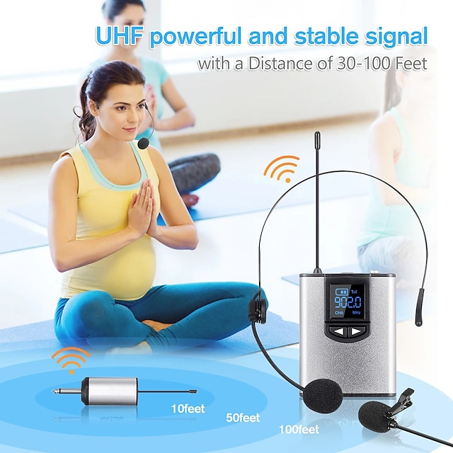 UHF Wireless Headset Microphone/Lavalier Lapel Mic with Bodypack Transmitter and Mini Rechargeable Receiver 1/4'' Output