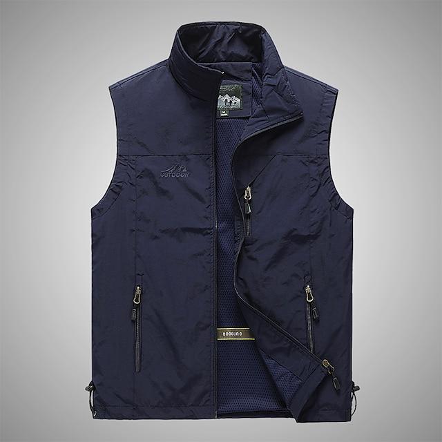 Men's Hiking Vest / Gilet Fishing Vest Military Tactical Vest Sleeveless Vest / Gilet Jacket Top Outdoor Quick Dry Lightweight Breathable Soft Autumn / Fall Spring Summer Back Venting Design Chinlon