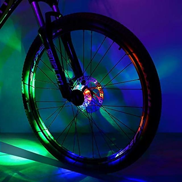 luz do hub de bicicleta, luzes de roda de bicicleta à prova d'água de segurança, luz led de aro com raio de ciclismo para crianças e adultos andando à noite (colorido, 2 unidades)