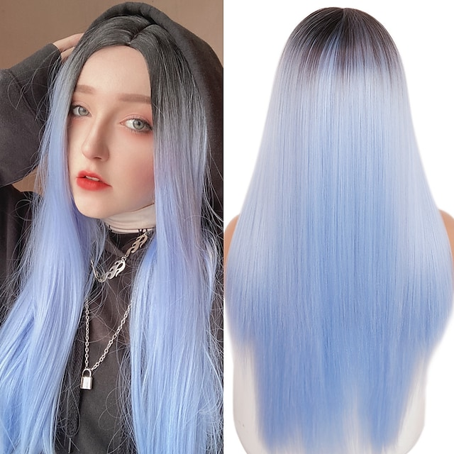 Women's Long Straight Synthetic Wig Mixed Brown And Blonde Long Wigs for White /Black Women Party Cosplay Hair