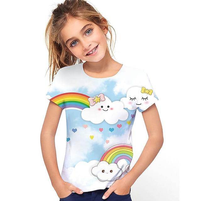 Kids Girls' T shirt Tee Short Sleeve Rainbow Graphic 3D Print Light Blue Children Tops Active