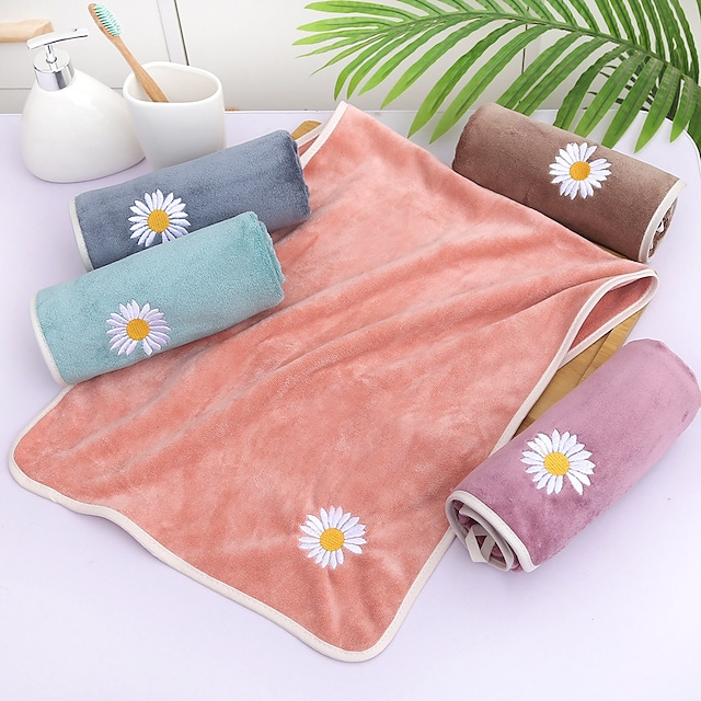 litb basic serviette de bain en molleton de corail doux mignonne broderie de fleurs de marguerite couleur unie confortable absorbant quotidien serviettes de lavage à la maison 1 pcs 35 * 75 cm