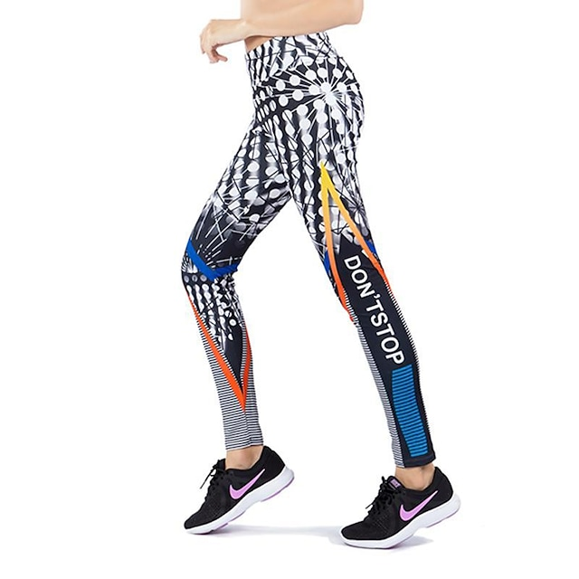 Activewear Pants Printing Solid Women's Training Running Natural Polyester