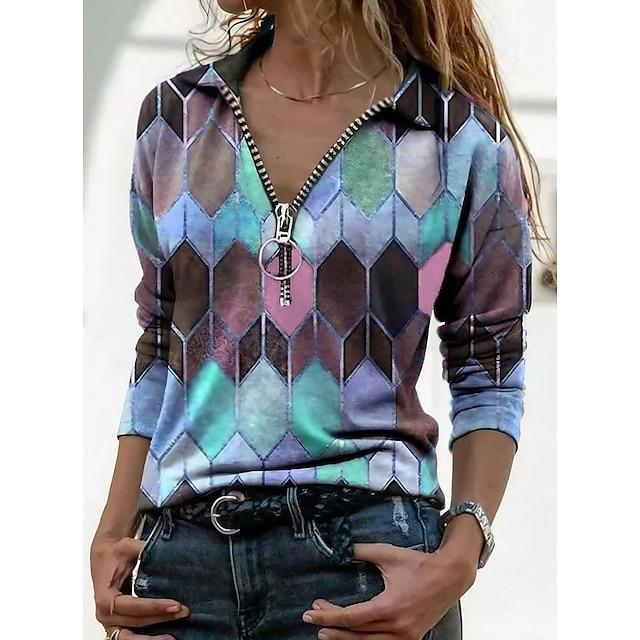 Women's T shirt Color Block Graphic Prints Long Sleeve Quarter Zip Print V Neck Shirt Collar Tops Basic Basic Top Blue Purple Orange