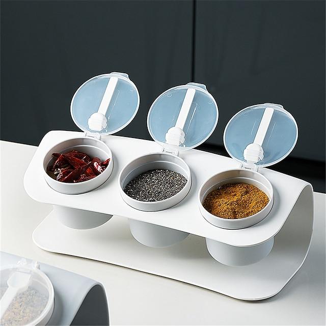 maustelaatikko, kolme osastoa, keittiöyhdistelmä, muovinen suolan ravistin, maustesäilytyslaatikko, kosteutta kestävä