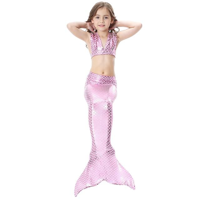 Da ragazza Costumi da bagno Bikini 3 pezzi Tre pezzi Costume da bagno Coda da sirena Sirenetta Colorata Costumi da bagno Tinta unita Senza maniche Blu Viola Rosa Spiaggia Costumi Da principessa stile