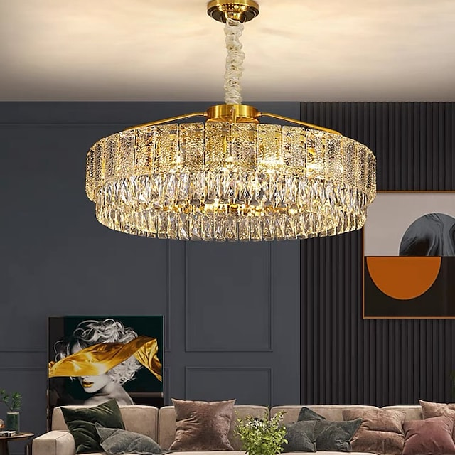 60 cm kristal avize led kolye ışık fener tasarım avize metal elektroliz led 110-120v 220-240v