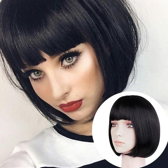 luonnollinen suora lyhyt musta kulta peruukki päähine kemiallinen kuitu lyhyet hiukset bob pää opiskelija pää otsatukka klassinen peruukki hiuslakka