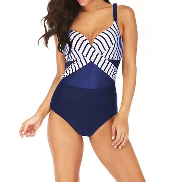 Women's One Piece Swimsuit Swimwear Bodysuit Breathable Quick Dry Sleeveless Swimming Surfing Water Sports Patchwork Summer / Plus Size
