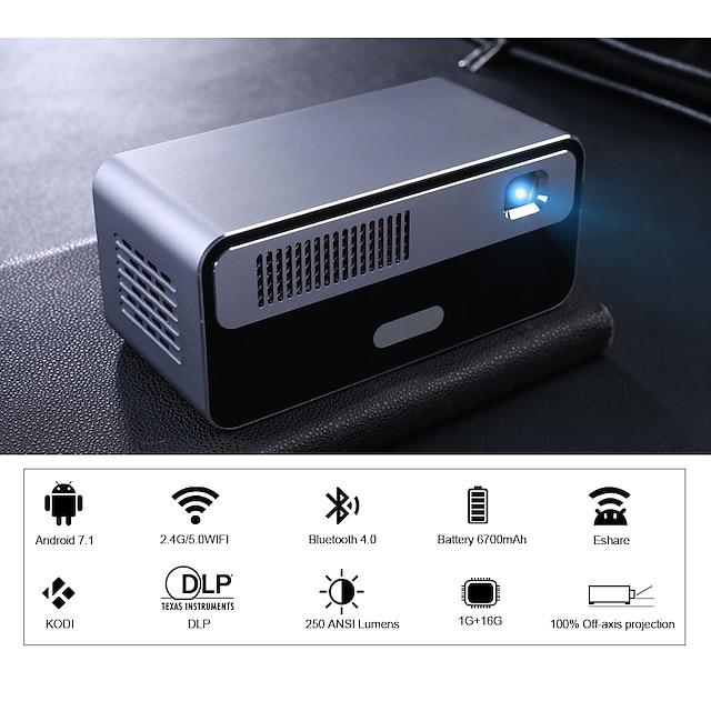 hdp300 250 ansi mini led projecteur dlp portable projecteur intelligent wifi batterie hd android 1080p bluetooth pocket pico projecteur de poche