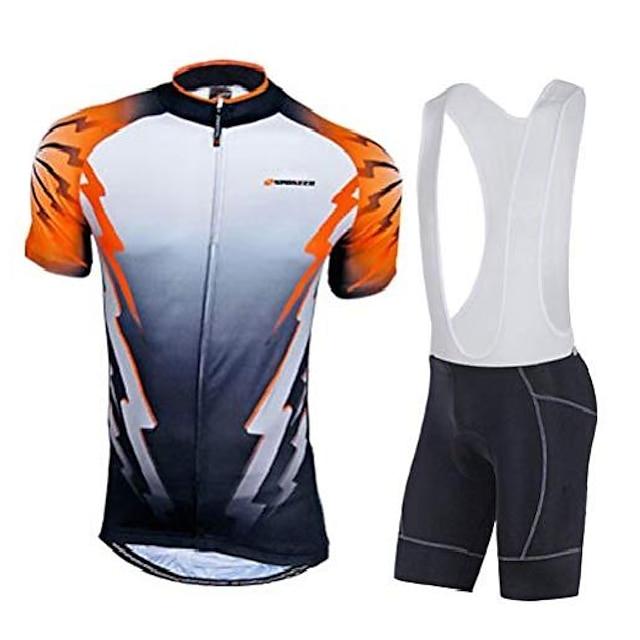 cycling bibs jersey bicycle shirt lycra bib shorts for men asia xl/us l orange multi