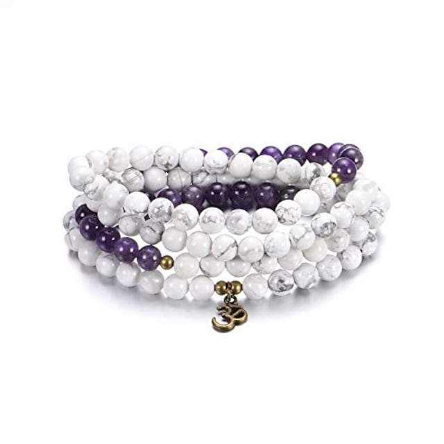 sunflower jewellery 8mm 108 mala beads wrap bracelet necklace for yoga charm bracelet natural stone jewelry for women men (white turquoise and amethyst)