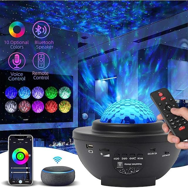 LED estrella de la noche luz de onda cielo estrellado galaxia proyector blueteeth usb control de voz reproductor de música 360 rotación lámpara de iluminación nocturna