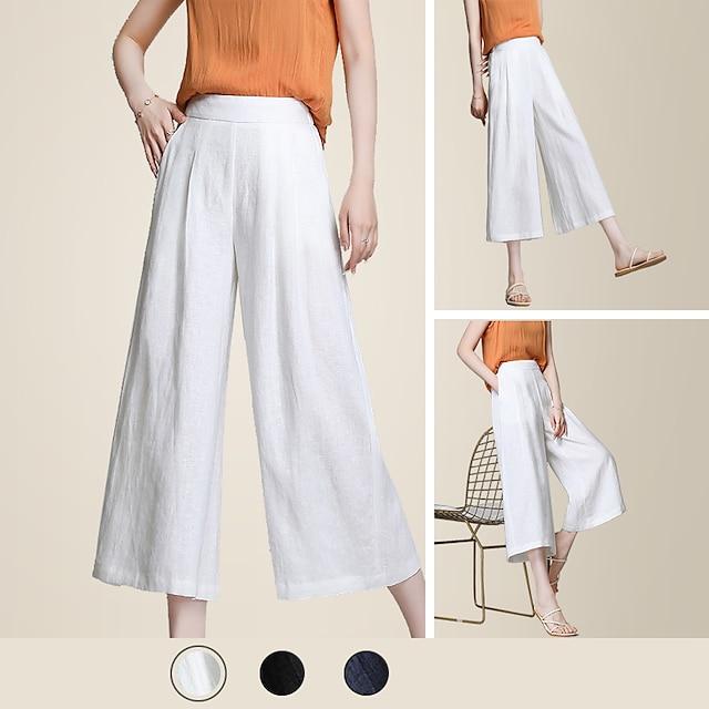 Pantalones cortos de pierna ancha sólidos para mujer básicos litb, pantalones sueltos casuales hasta los tobillos, pantalones de verano sencillos para mujer