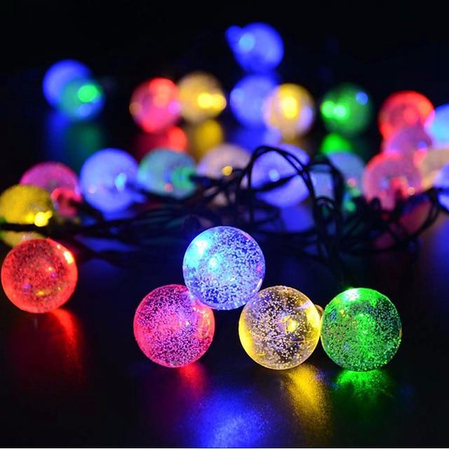 lumini de șir de bilă solară lumină în aer liber 6,5m iluminare 30 leduri alb multicolor Crăciun Anul Nou vacanță în aer liber interioară alimentată cu energie solară