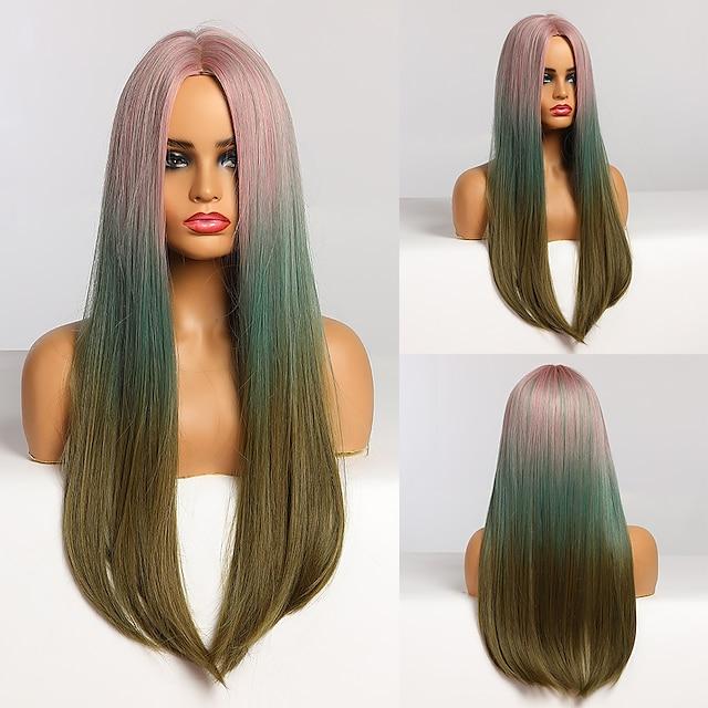 uzun düz pembe mavi yeşil ombre saç orta kısım isıya dayanıklı sentetik peruk afro kadınlar için cosplay parti doğal peruk