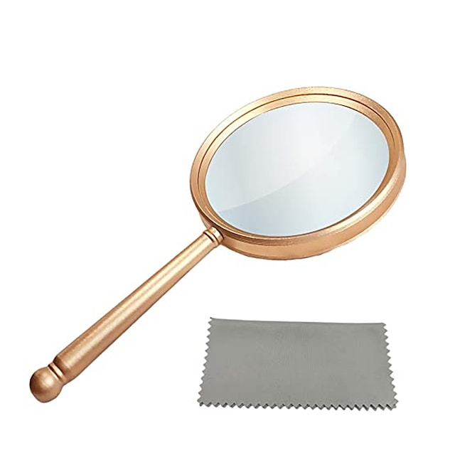 Handheld Magnifying Glasses 5X Reading Magnifier with Shatterproof Metal Handle & 84mm Large Magnifying Real Glass Lens for Seniors and Kids Book and Newspaper Reading, Repair and Observation
