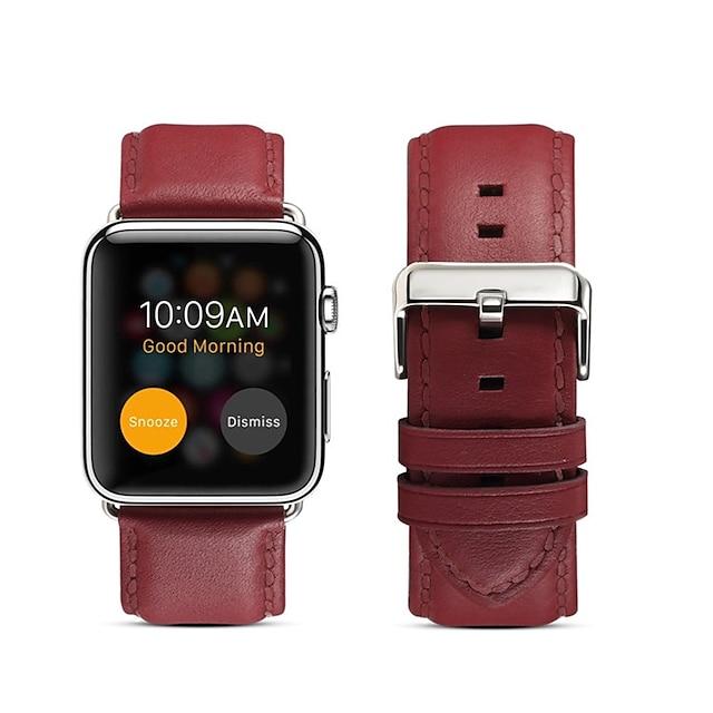Smart Watch Band για Apple  iWatch 1 pcs Επιχειρηματική ζώνη Γνήσιο δέρμα Αντικατάσταση Λουράκι Καρπού για Ρολόι Apple Σειρά 6 / SE / 5/4 44mm Ρολόι Apple Σειρά 6 / SE / 5/4 40mm Ρολόι Apple