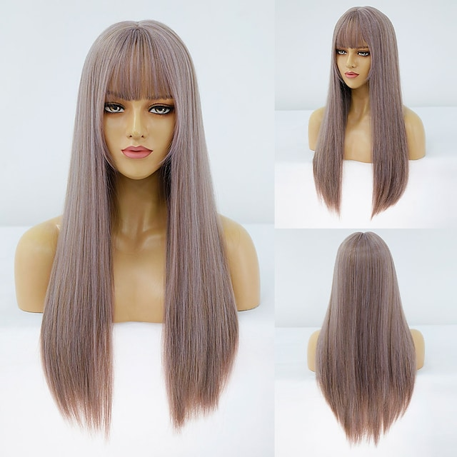 Synthetic Wig Straight Neat Bang Wig Medium Length A10 A11 A1 A2 A3 Synthetic Hair Women's Cosplay Party Fashion Purple