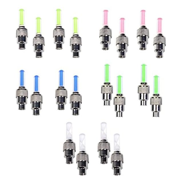 10 pack of bike bicycle car motor wheel tire valve cap spoke neon 5 led lights flash lamp(red, yellow, blue, green, colorful)