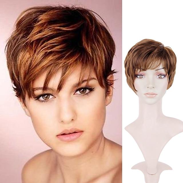 кудрявый короткий коричневый парик женский парик из химического волокна головной убор европейский и американский парик коричневый короткие волосы микро-объем синтетические парики парик