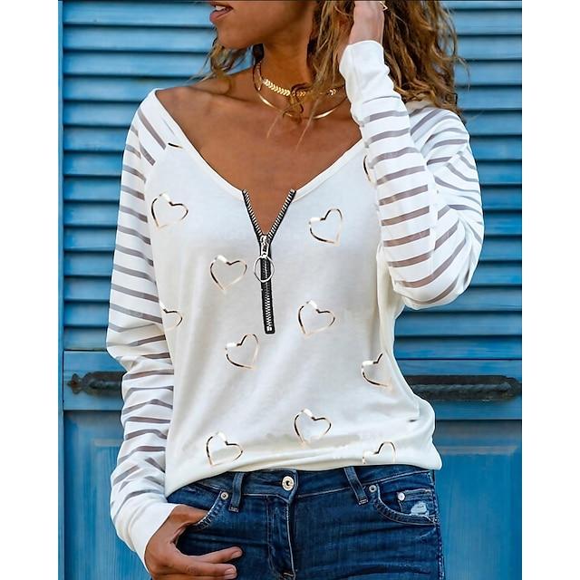 Women's T shirt Heart Long Sleeve Quarter Zip Print V Neck Tops Sexy Basic Top White Black Blushing Pink