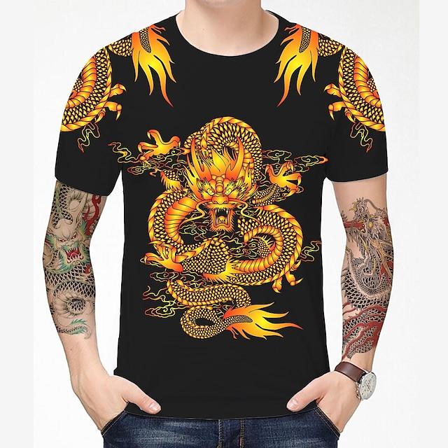 Herr T-shirt 3D-tryck Drake Grafisk Grafiska tryck 3D Tryck Kortärmad Dagligen Blast Kinesisk stil Ledigt Svart