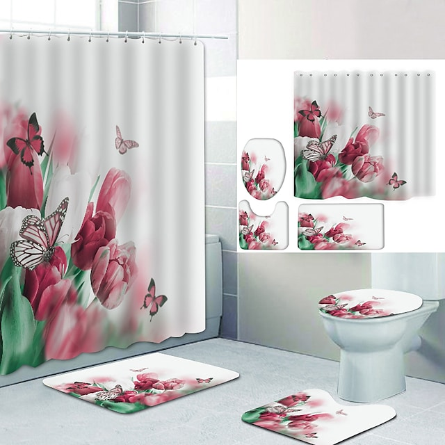 Bathroom Shower Curtain & Mat Set Modern Polyester New Design