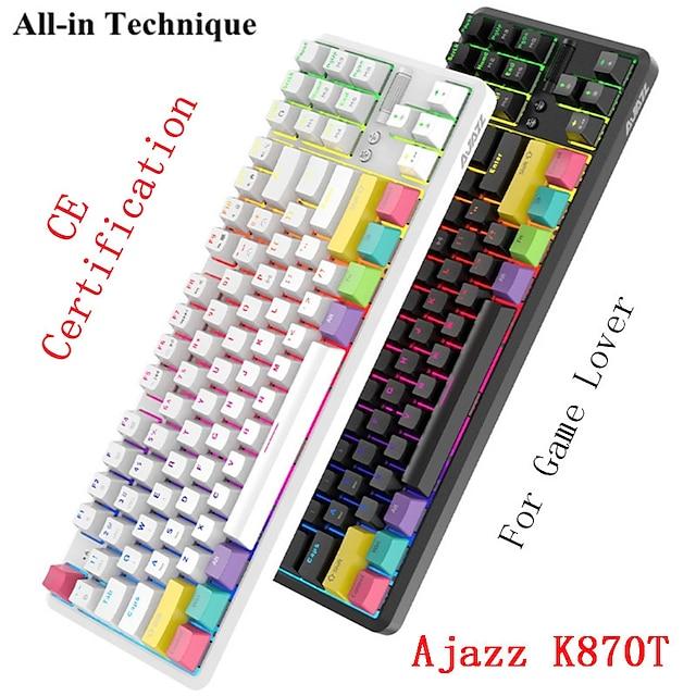 AJAZZ K870T Wireless Bluetooth USB Wired Dual Mode Mechanical Keyboard Novelty Luminous Programmable RGB Backlit 87 pcs Keys
