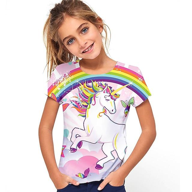 Kids Girls' T shirt Tee Short Sleeve Unicorn Rainbow Graphic 3D Print Blushing Pink Children Tops Active Cute School