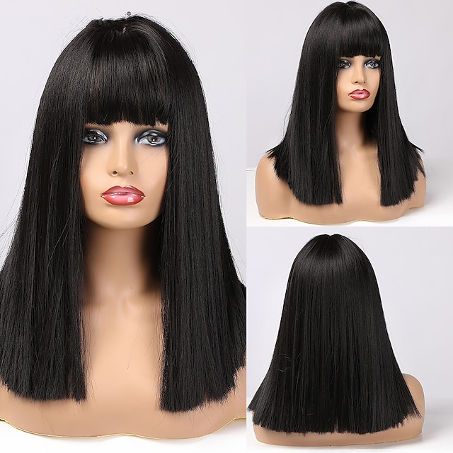 Black Bob Hair Wigs Medium Straight Synthetic Wig with Bangs Fashion Female Cosplay Wig for Women Heat Resistant Blunt Cut Bob