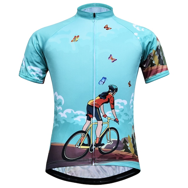 21Grams Women's Short Sleeve Cycling Jersey Summer Spandex Polyester Blue Butterfly Bike Jersey Top Mountain Bike MTB Road Bike Cycling Quick Dry Moisture Wicking Breathable Sports Clothing Apparel