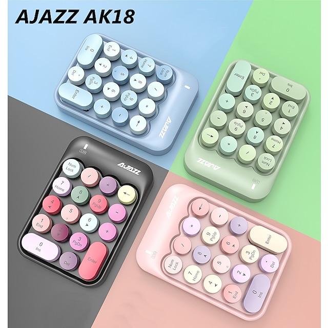 AJAZZ AK18 لاسلكي 2.4 جيجا هرتز لوحة المفاتيح الإبداعي ميني حداثة 18 pcs مفاتيح