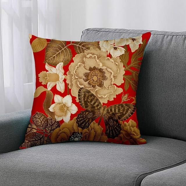 față dublă 1 buc husă de pernă florală print 45x45cm faux lenjerie pentru dormitorul canapelei