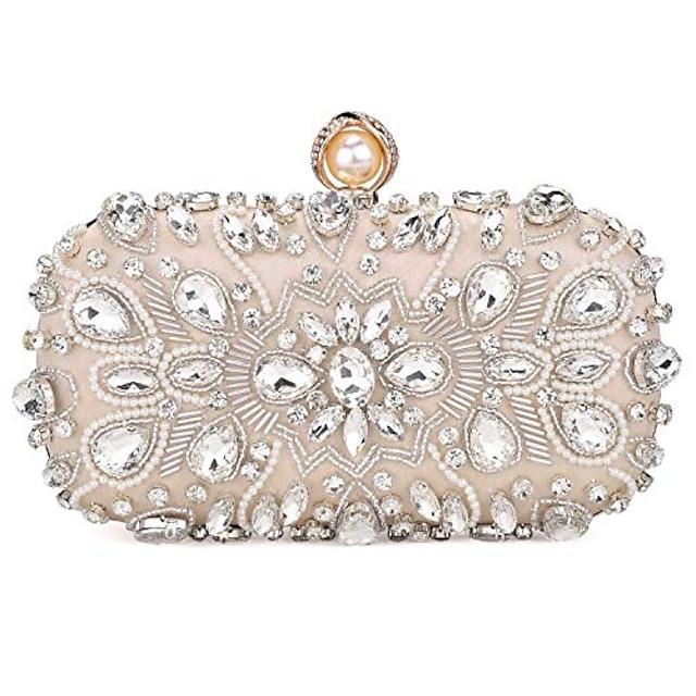 kvinners krystallkveske clutch bag bryllupsveske bridal prom håndveske festpose, beige.