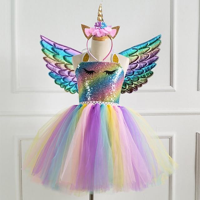 ילדים שמלת ילדות קטנות 3 יחידות חד קרן נסיכת קשת צבעונית טוטו מסיבת יום הולדת שמלות עם כנף וגימור פאייטים הלטר סגול זהב כסף שמלות חמוד 2-8 שנים