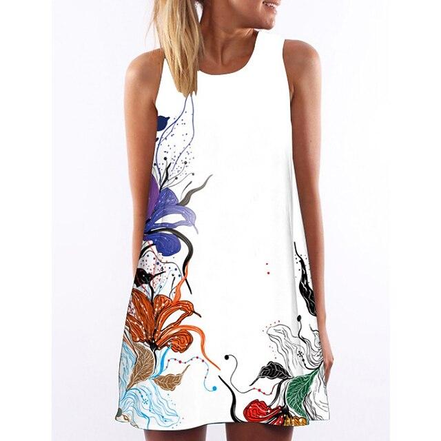 Női A vonalú ruha Rövid mini ruha Fehér Ujjatlan Virágos Nyár Kerek Elegáns Virágos S M L XL XXL