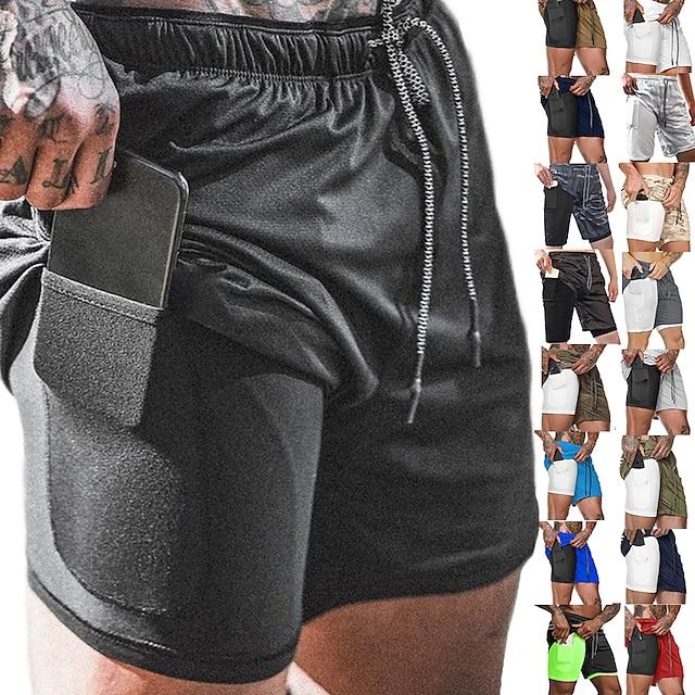 Pánské Koşu Şortları Sportovní Spodní část oděvu 2 v 1 s kapsou na telefon s Linerem Zdatnost Cvičení v tělocvičně Běh Aktivní trénink Běhání Prodyšné Rychleschnoucí Odvod vlhkosti Větší velikosti