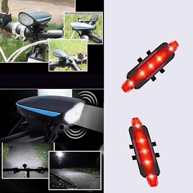 LED Pyöräilyvalot Polkupyörän etuvalo takavalot Pyörän torven valo LED Pyörä Pyöräily Vedenkestävä Kannettava USB-latauslähtö LED Li-polymeeri 1200 lm Sisäänrakennettu Li-akku Päivittäiskäyttöön