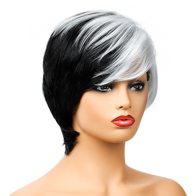 Synthetic Wig Natural Straight Short Bob Wig Short Black / White Synthetic Hair Women's Party Fashion Comfy Black White