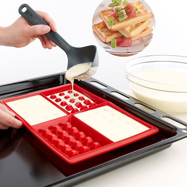 Waffle Makers Cooking Baking at Home for Kids Silicone Cake Mould Waffle Mould Silicone Bakeware Set Nonstick Silicone Baking Mold Set