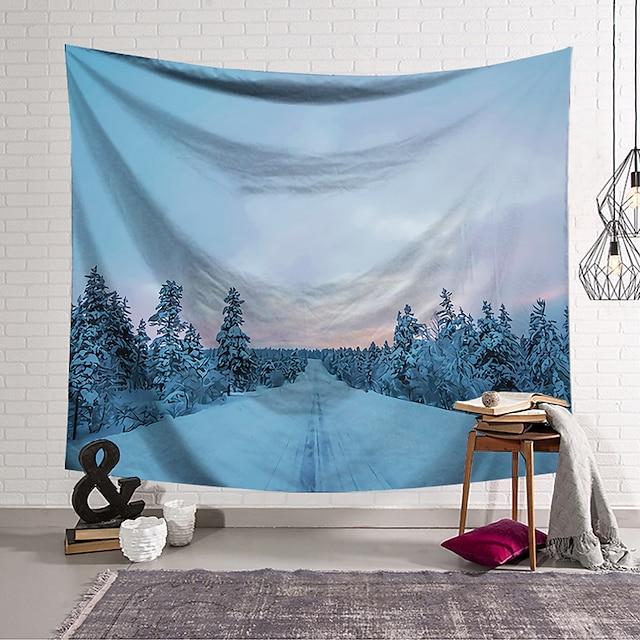 Tapisserie murale art décor couverture rideau suspendu maison chambre salon décoration polyester forêt de neige